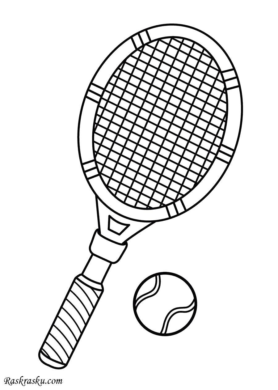 Раскраска ракетка и мяч. Скачать Теннис.  Распечатать Теннис
