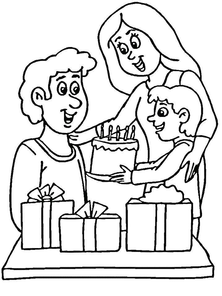 Раскраска Поздравления для папы, подарок папе, тортик папе, сын дарит папе подарок. Скачать Подарки.  Распечатать Подарки