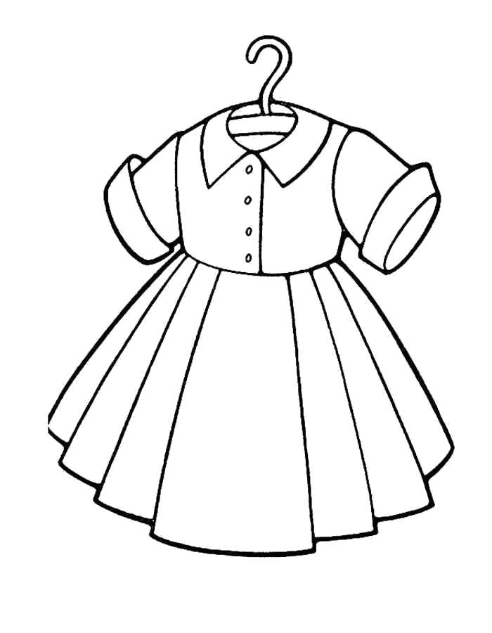 Раскраска Платьице с коротким руковом. Скачать платье.  Распечатать платье