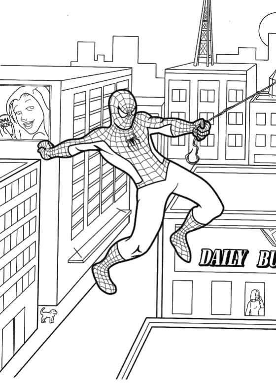 Раскраска Человек Паук летит на паутине. Скачать Человек Паук.  Распечатать Человек Паук