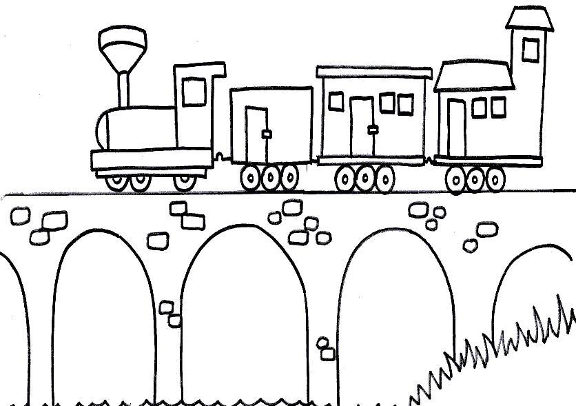Раскраска Железная дорога по мосту. Скачать Паровоз.  Распечатать Паровоз