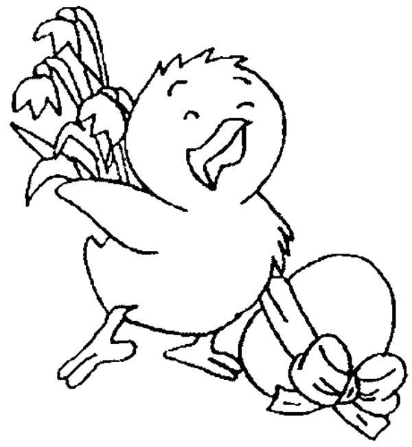 Раскраска радостный цыпленок . Скачать на Пасху.  Распечатать на Пасху