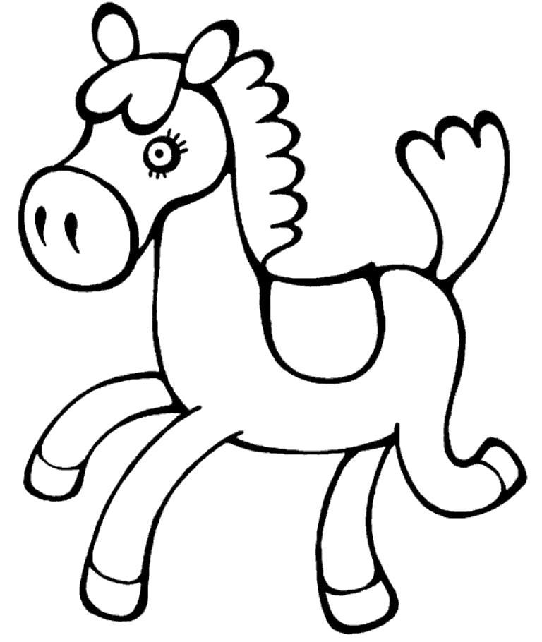 Раскраска Милая лошадка. Скачать животных.  Распечатать животных