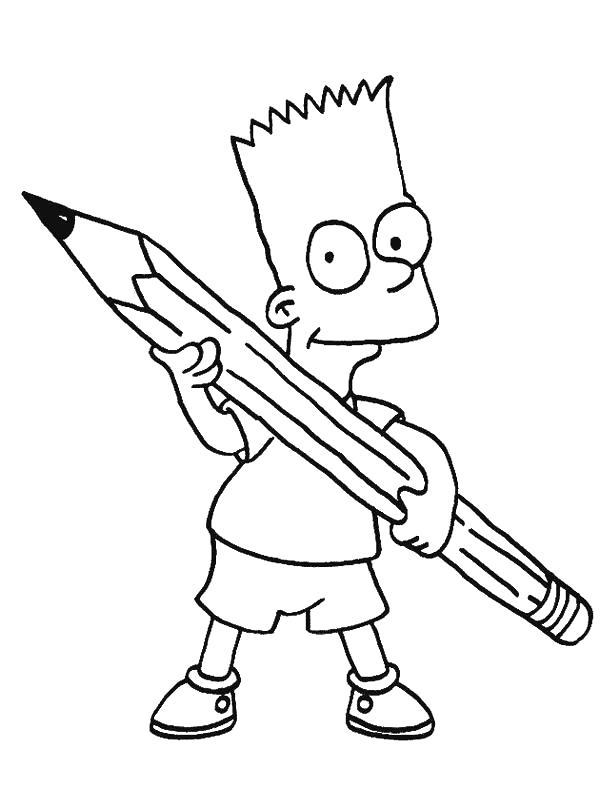 Раскраска Барт держит карандаш. Скачать Симпсоны.  Распечатать Симпсоны