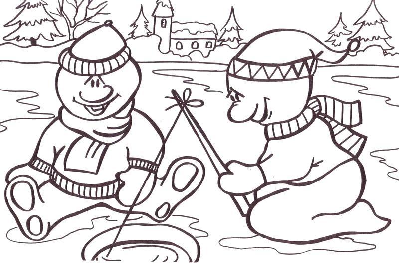 Раскраска Снеговики рыбачат. Скачать .  Распечатать