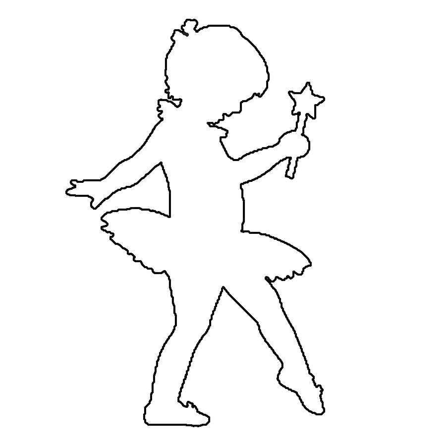 Раскраска  шаблоны балерин балерина девочка контур для вырезания из бумаги. Скачать Шаблон.  Распечатать Шаблон