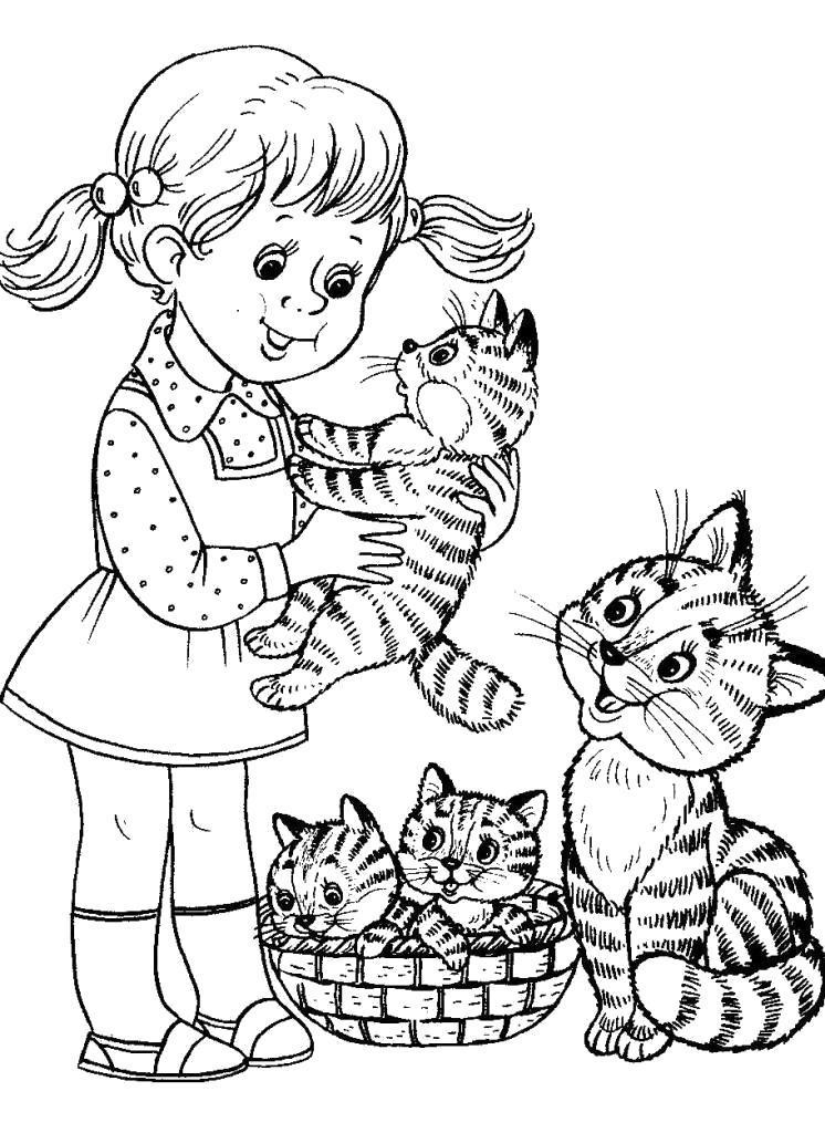 Раскраска Девочка с котятками. Скачать .  Распечатать