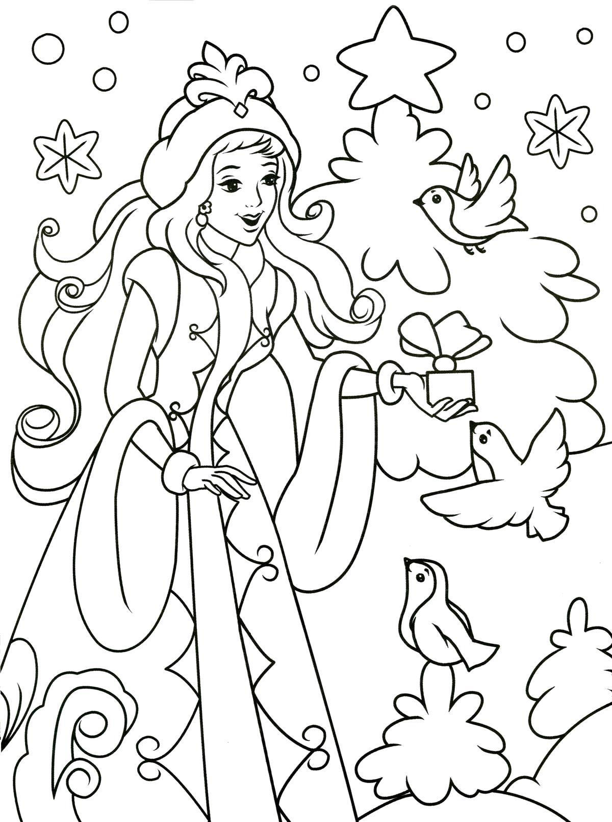 Раскраска снегурочка с подарком. Скачать Снегурочка.  Распечатать Снегурочка