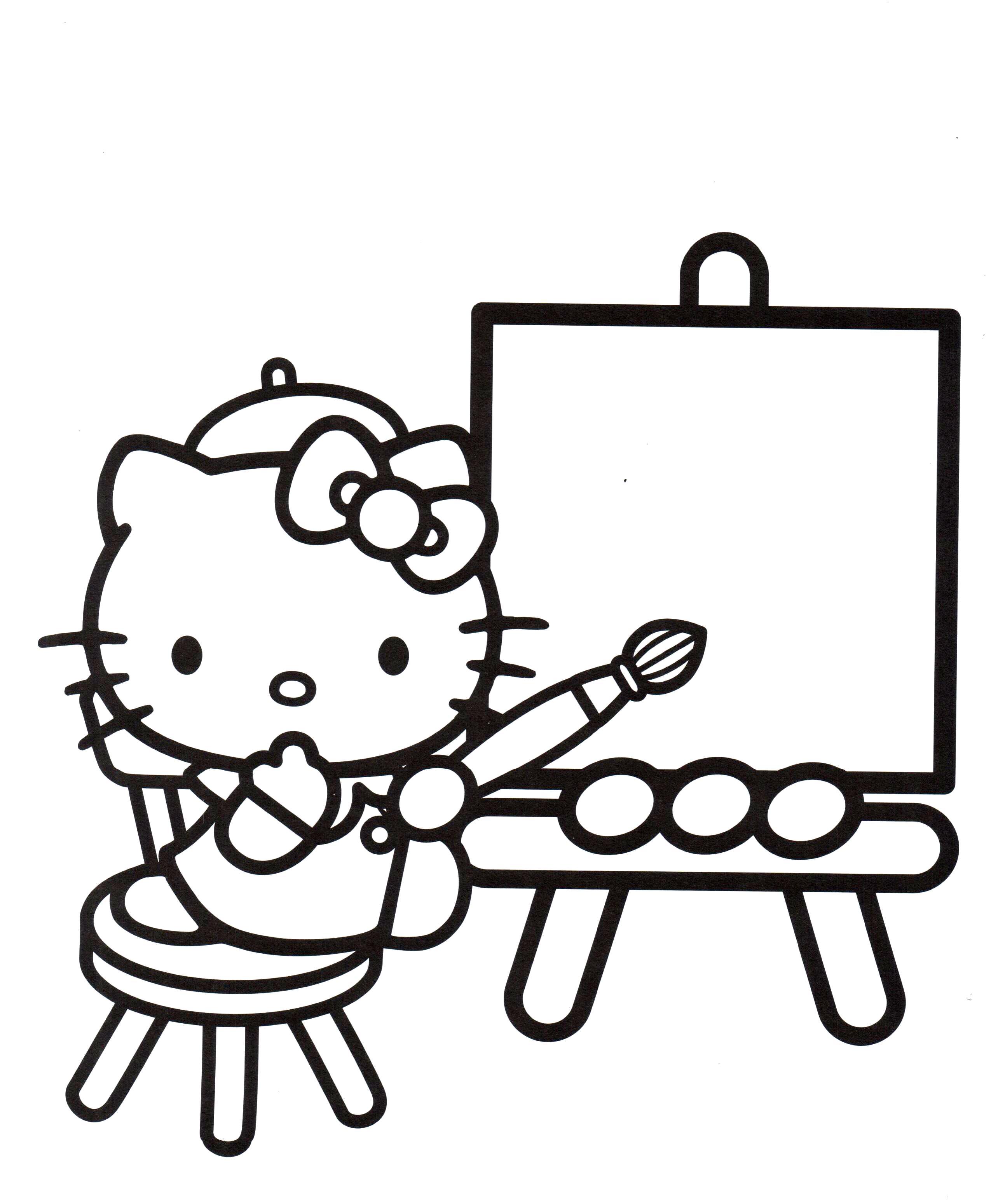 Раскраска Китти художница. Скачать .  Распечатать