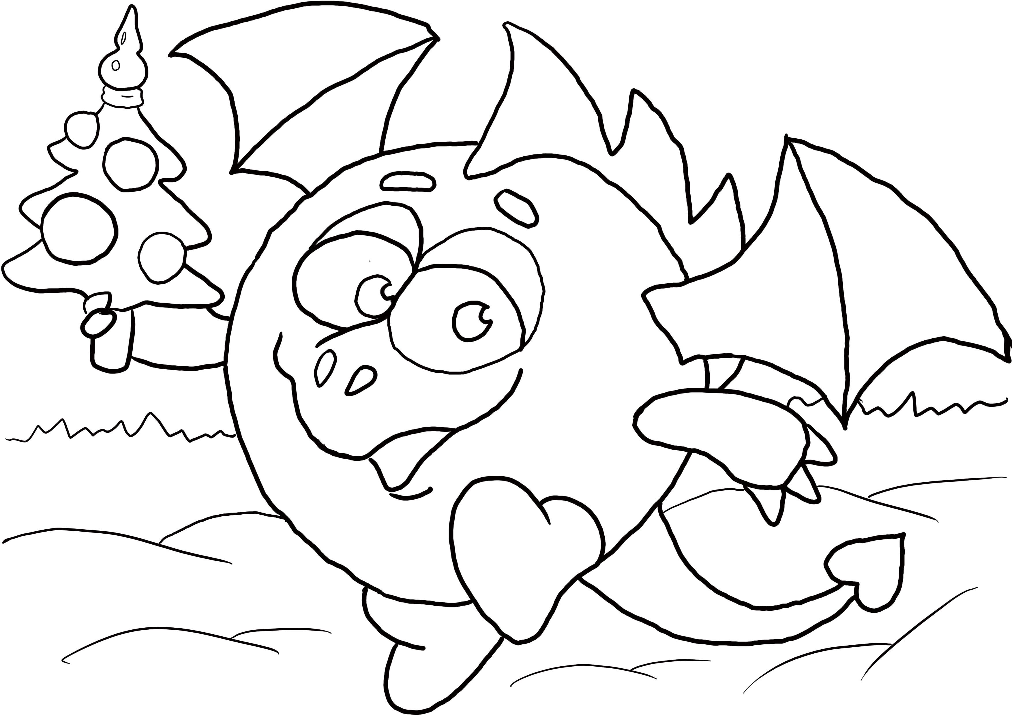 Раскраска дракончик. Скачать .  Распечатать Смешарики