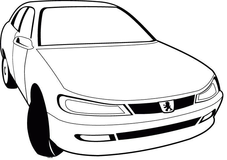 Раскраска Картинка  пежо 405. Скачать Машины.  Распечатать Машины