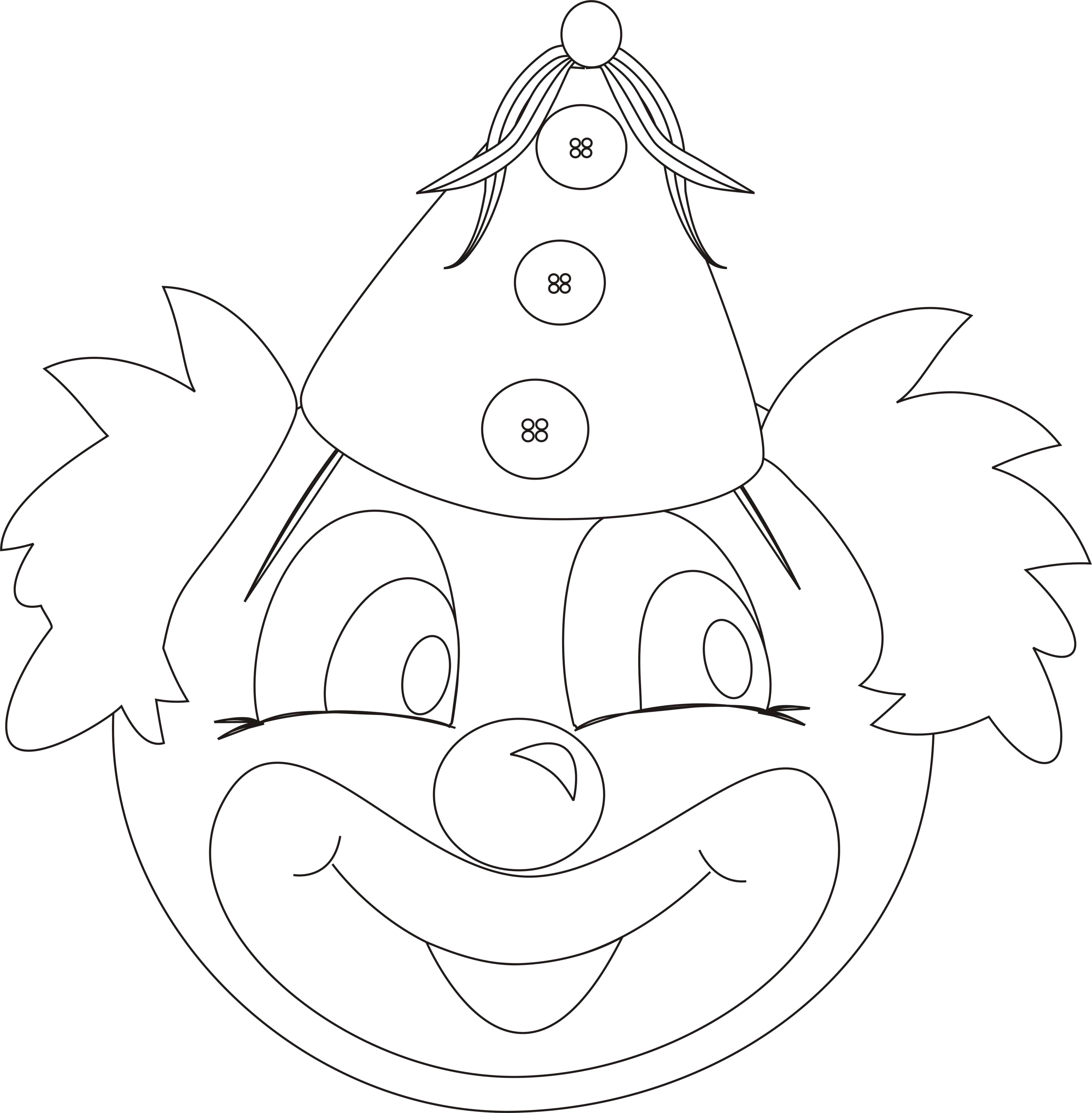 Раскраска Мордашка клоуна. Скачать клоун.  Распечатать клоун