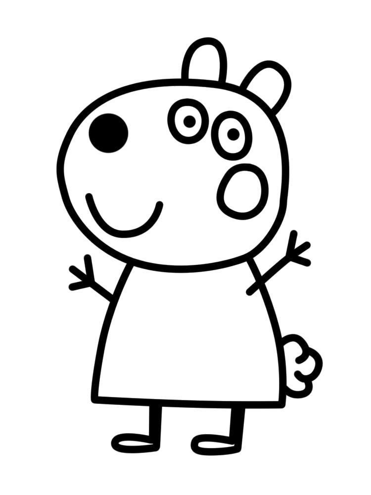 Раскраска Подружка Свинки Пеппы. Скачать .  Распечатать