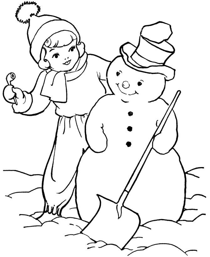 Раскраска Мальчик со снеговиком. Скачать снеговик.  Распечатать снеговик