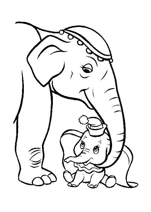 Раскраска  Дамбо с мамой. Скачать Дамбо.  Распечатать Дамбо