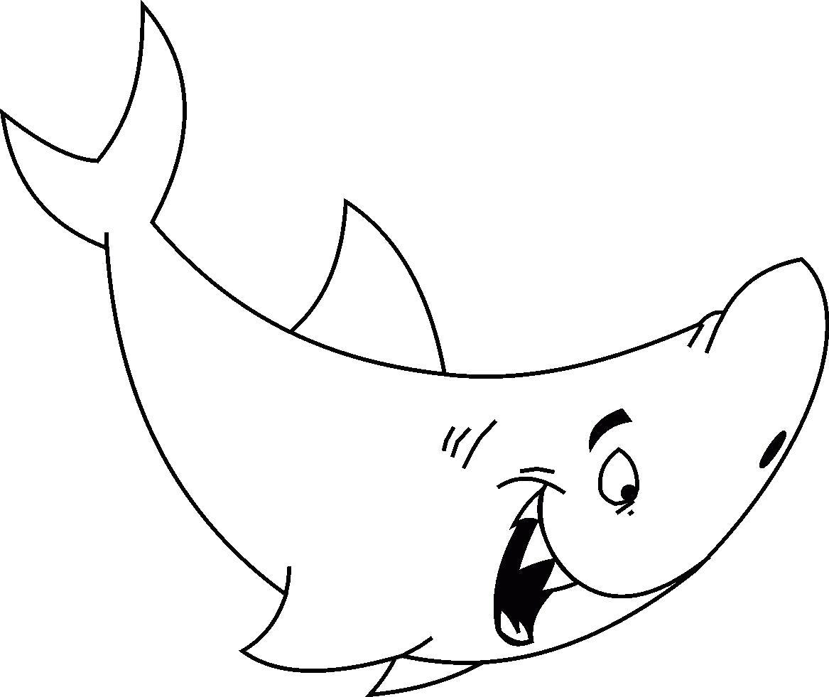 Раскраска Радостная акула. Скачать Акула.  Распечатать Морские животные