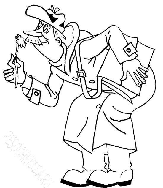 Раскраска Почтальон Печкин из Простоквашино. Скачать .  Распечатать