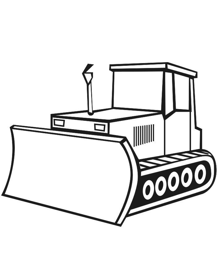 Раскраска  Трактор бульдозер. Скачать строительная техника.  Распечатать для мальчиков