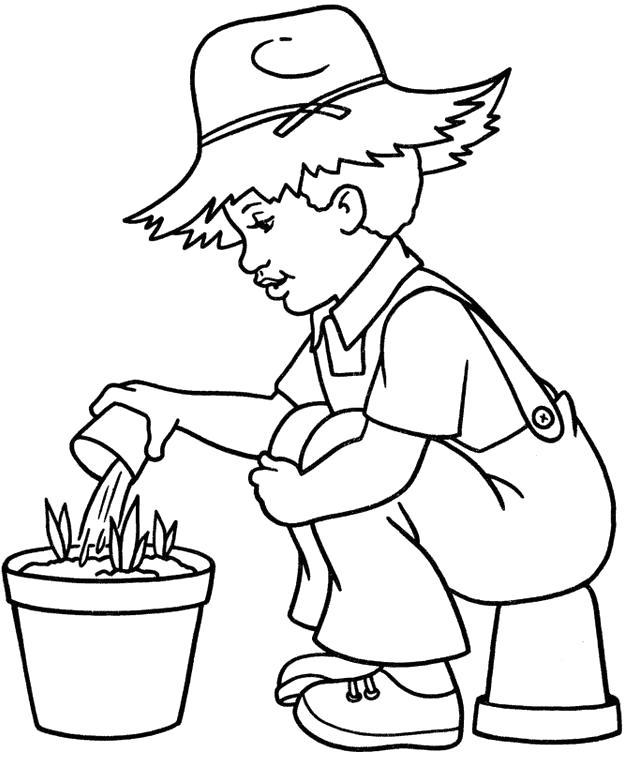 Раскраска Мальчик с фермы. Скачать .  Распечатать