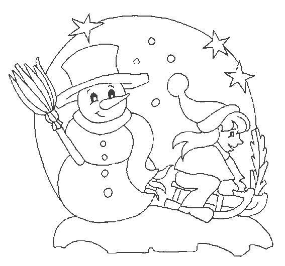 Раскраска мальчик на санях, снеговик, звездочки. Скачать новогодние.  Распечатать новогодние