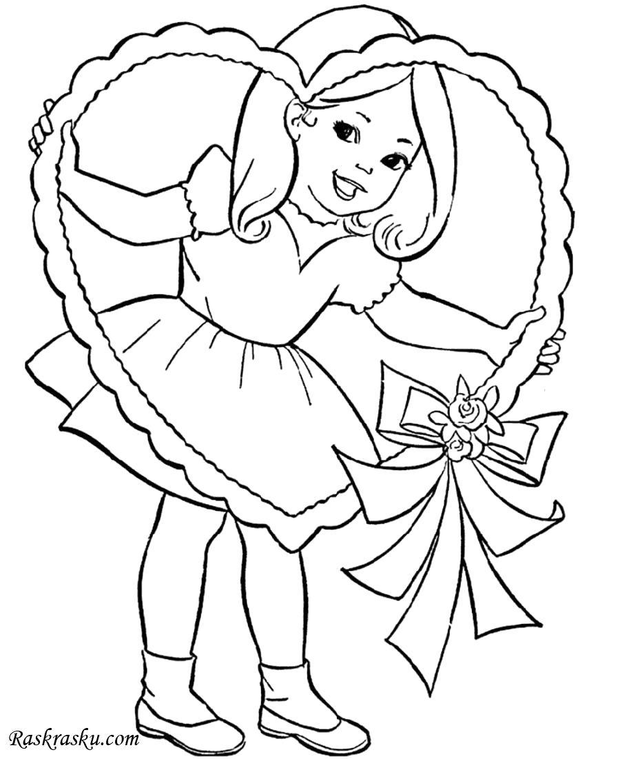 Раскраска Девочка с огромным сердцем. Скачать сердце.  Распечатать День святого валентина