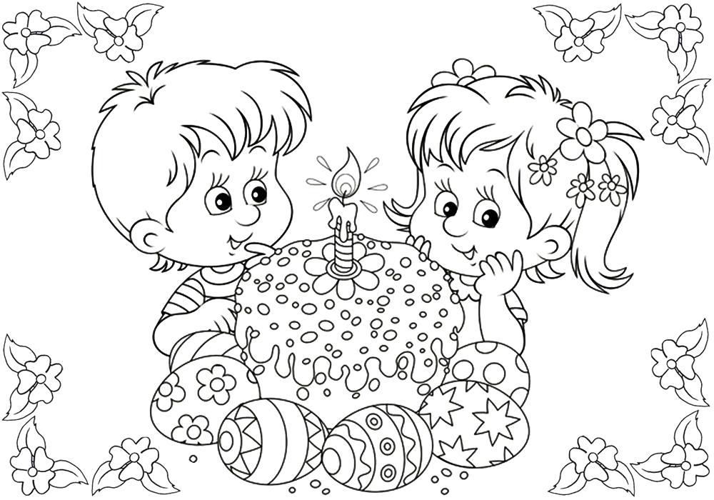 Раскраска  для детей детского сада Пасха. Скачать Пасха.  Распечатать Пасха