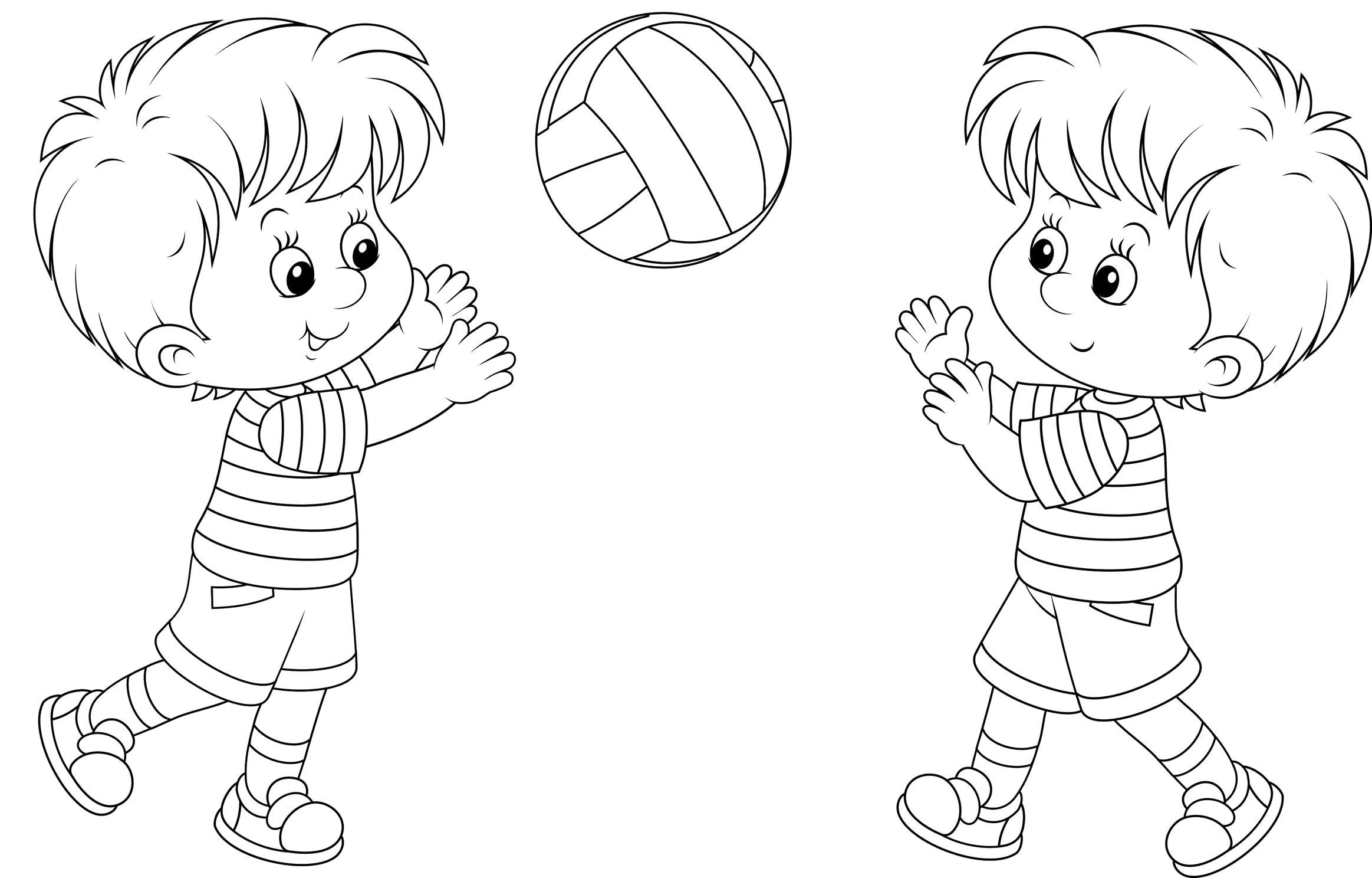 Раскраска Мальчики играют в волейбол. Скачать Волейбол.  Распечатать Волейбол