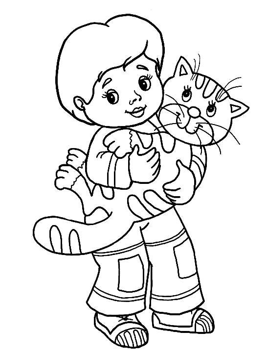 Раскраска  Кошка. Скачать кот, Котенок.  Распечатать Домашние животные