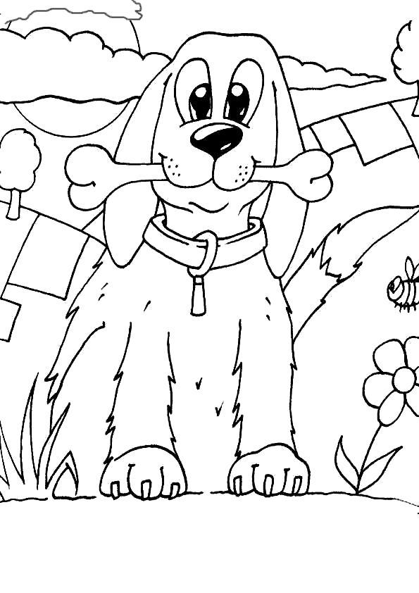 Раскраска Верный дружок. Скачать Собаки.  Распечатать Собаки