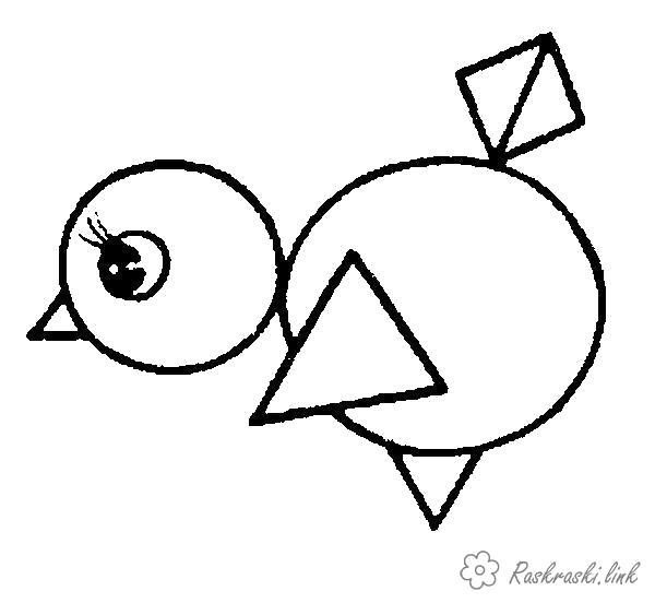 Раскраска  птенец птенец геометрические фигуры . Скачать ромб, круг, треугольник.  Распечатать геометрические фигуры