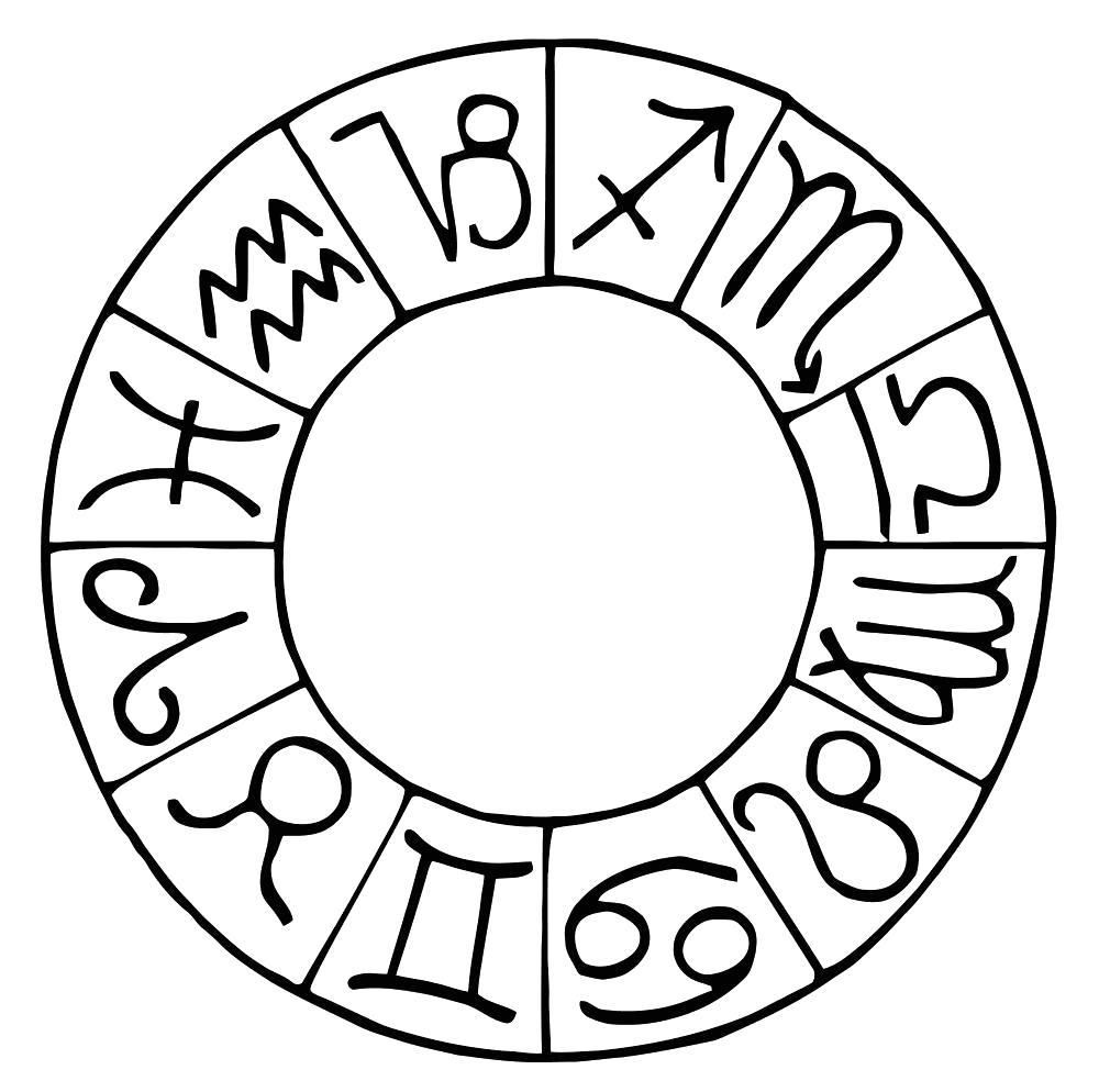 Раскраска Зодиакальный круг. Скачать Знаки Зодиака.  Распечатать Знаки Зодиака
