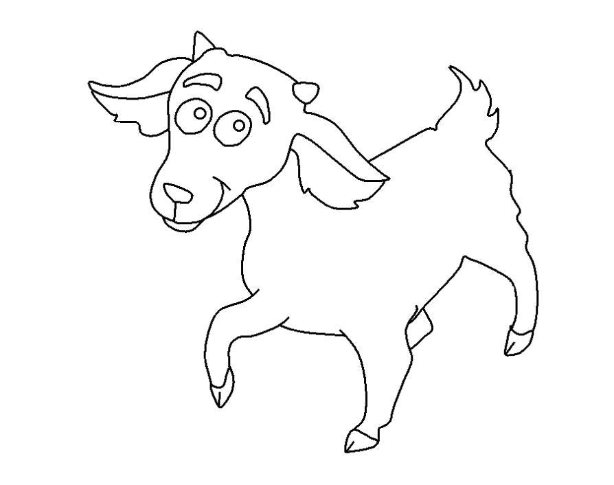 Раскраска  козочка. Скачать Коза.  Распечатать Домашние животные