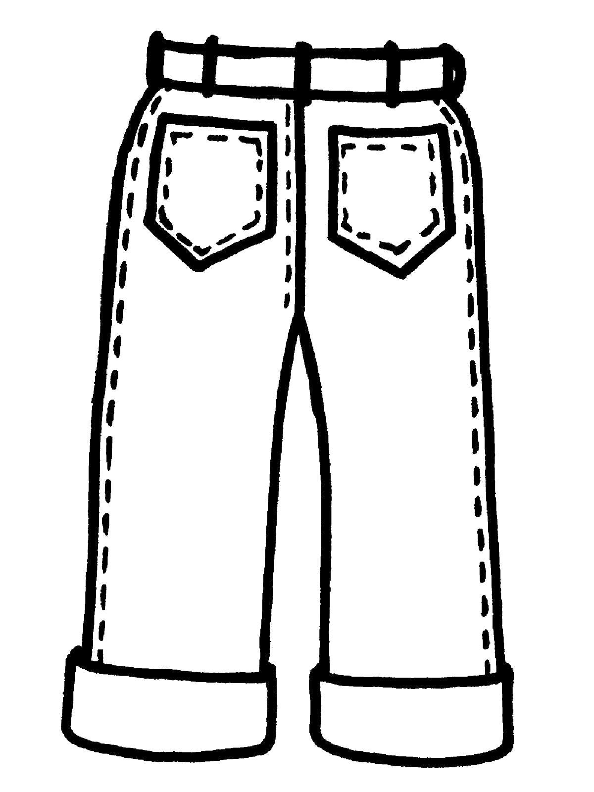 Раскраска Детские джинсы. Скачать .  Распечатать