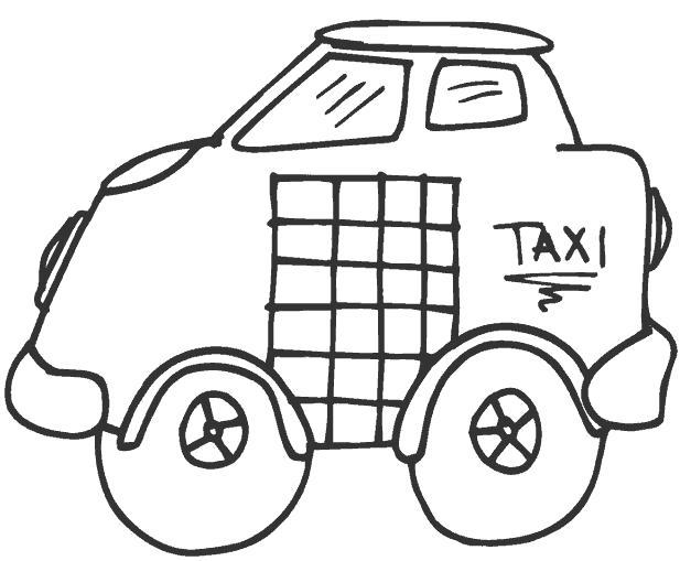 Раскраска такси. Скачать .  Распечатать