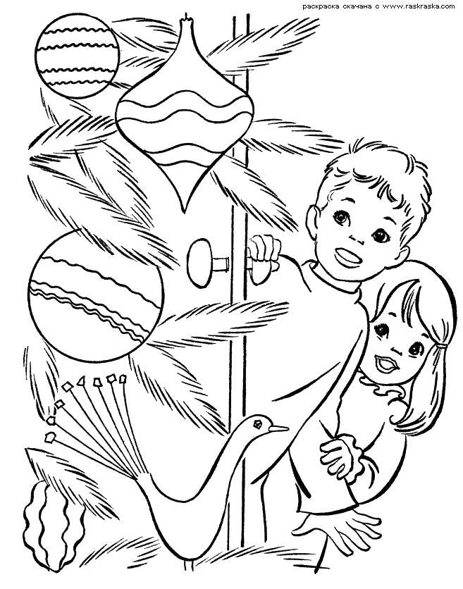 Раскраска  Магазин игрушек.  Мальчик и девочка пришли в магазин елочных игрушек, новогодние украшения распечатать раскраску. Скачать новогодние.  Распечатать новогодние