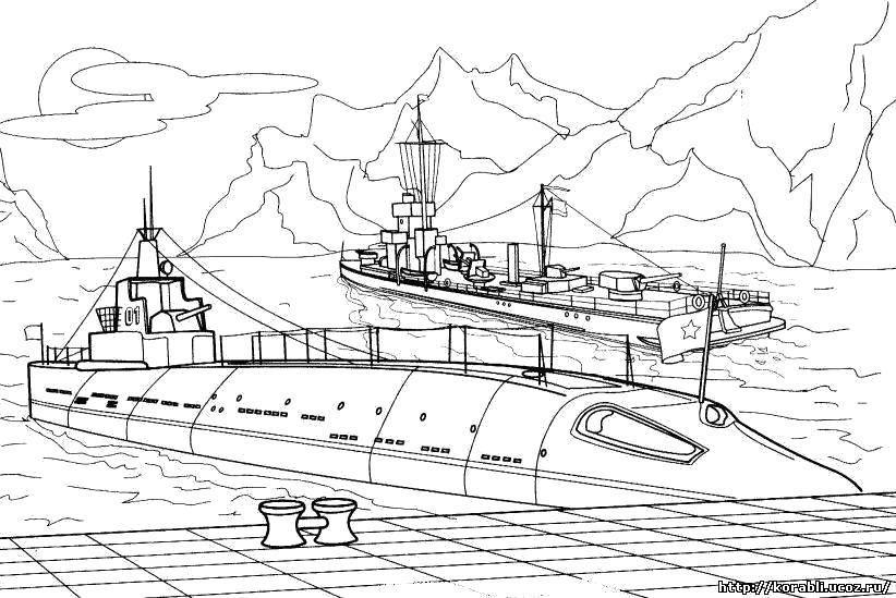 Раскраска подводная лодка, море, океан, скалы, пирс. Скачать .  Распечатать