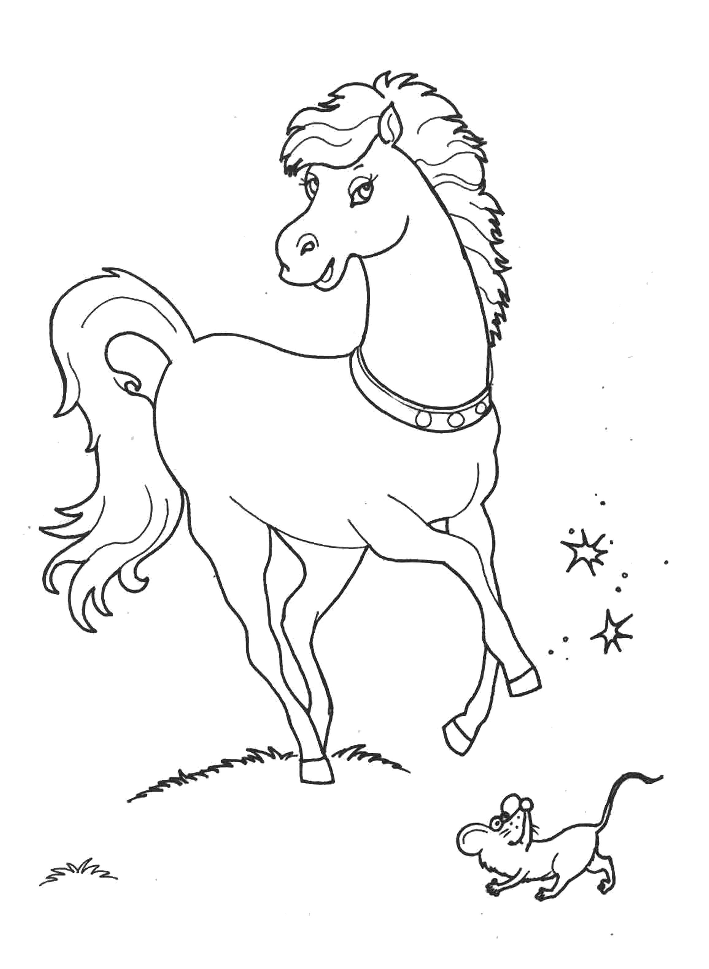 Раскраска Лошадка -  для девочек. Скачать Лошадка.  Распечатать Лошадка