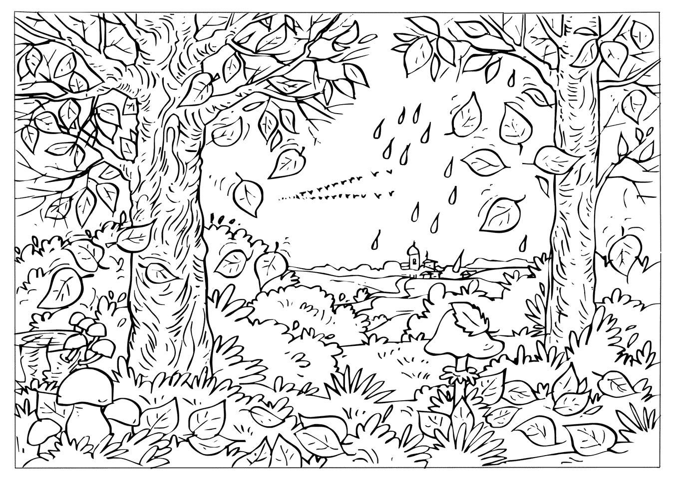 Раскраска Время года Осень, Падают листья. Скачать Осень.  Распечатать Осень