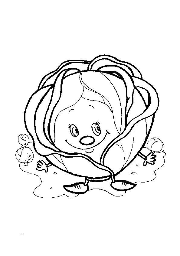 Раскраска Милая копустка. Скачать капуста.  Распечатать капуста