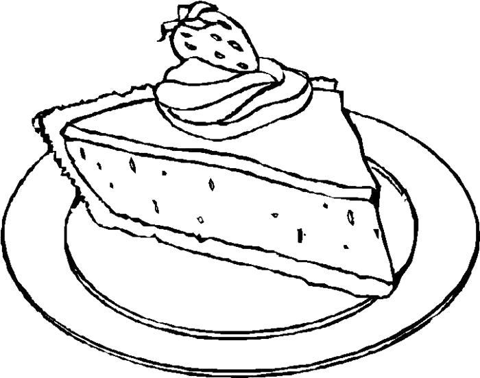 Раскраска Кусочек тортика. Скачать .  Распечатать