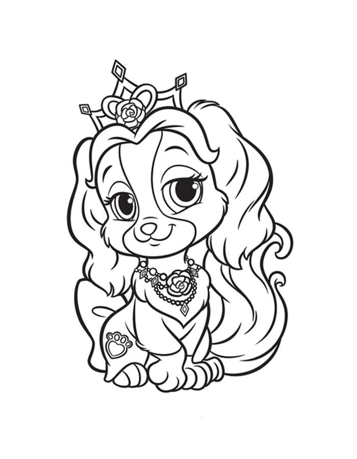 Раскраска  принцесса щенок. Скачать Щенок.  Распечатать Щенок