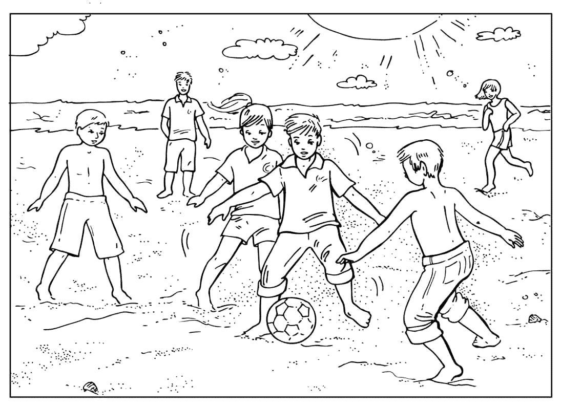 Раскраска Спорт  футбол на пляже.  игра в мяч на песке  для детей,  спорт  распечатать. Скачать Футбол.  Распечатать Футбол