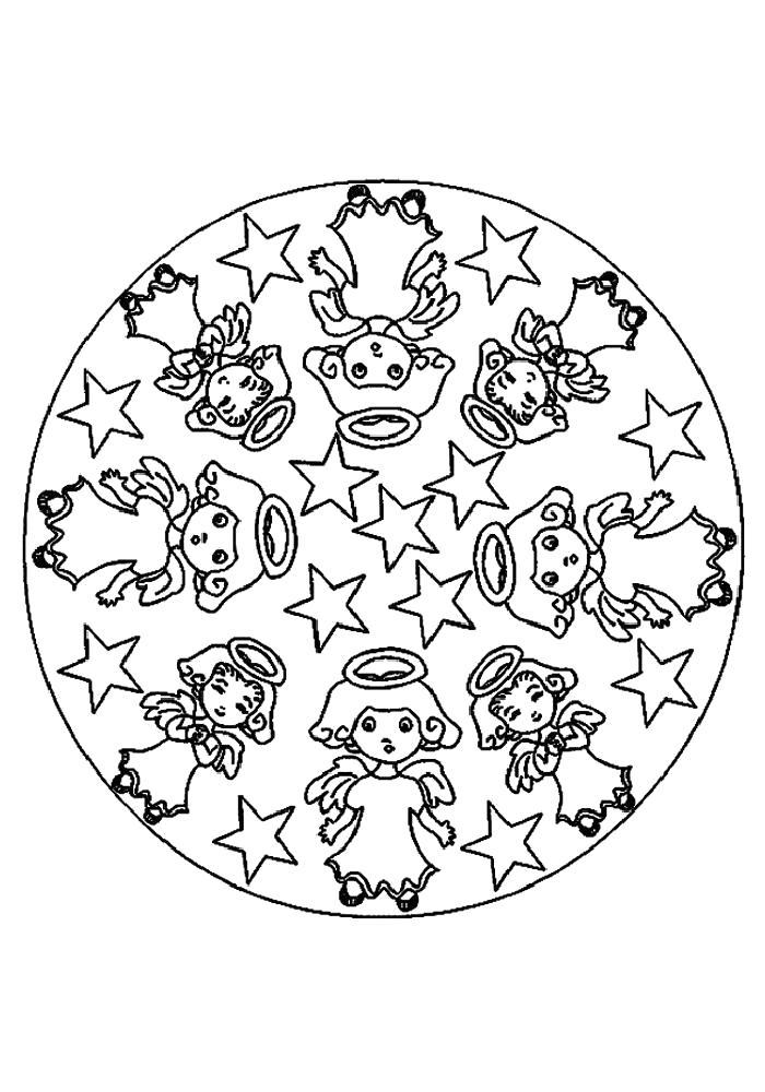 Раскраска Мандала-   для детей. Скачать Мандалы.  Распечатать Мандалы