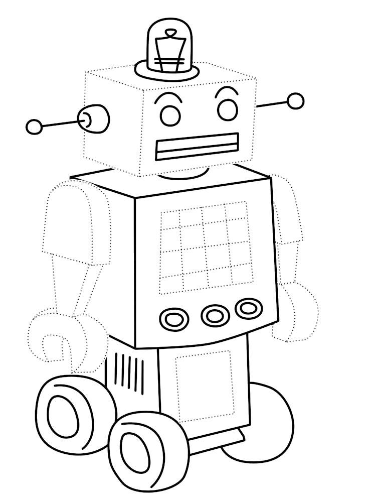 Раскраска Обвести по точкам рисунки с роботами и раскрасить их. Скачать по точкам.  Распечатать по точкам