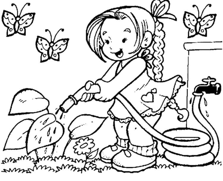 Раскраска Девочка поливает садик. Скачать .  Распечатать