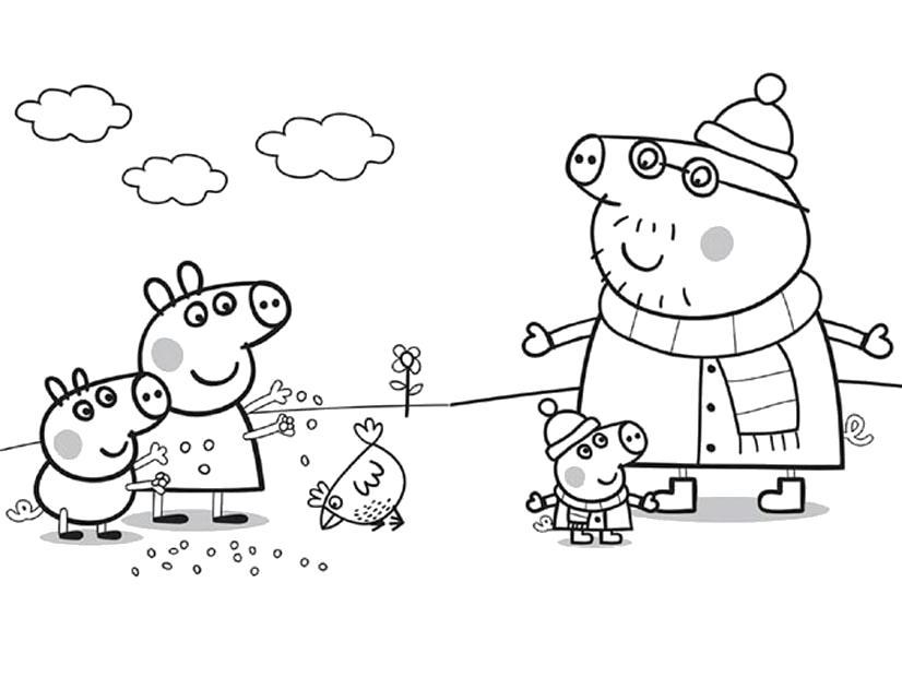 Раскраска  Свинка Пеппа с друзьями. Скачать Свинка Пеппа.  Распечатать Свинка Пеппа
