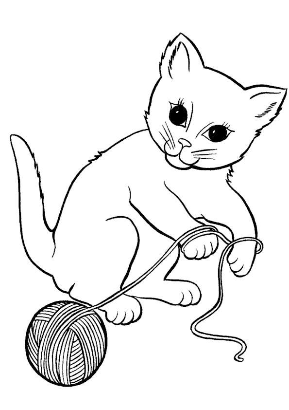 Раскраска  с котятами. Скачать Котенок.  Распечатать Домашние животные