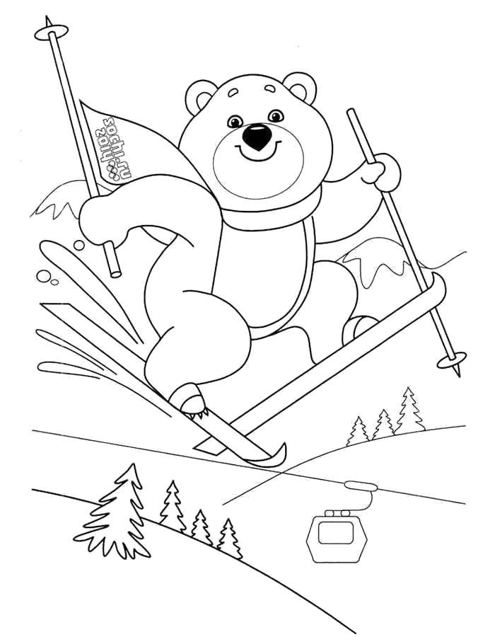 Раскраска Спорт Зимние виды спорта, медвежонок катается на лыжах. Скачать лыжи.  Распечатать лыжи