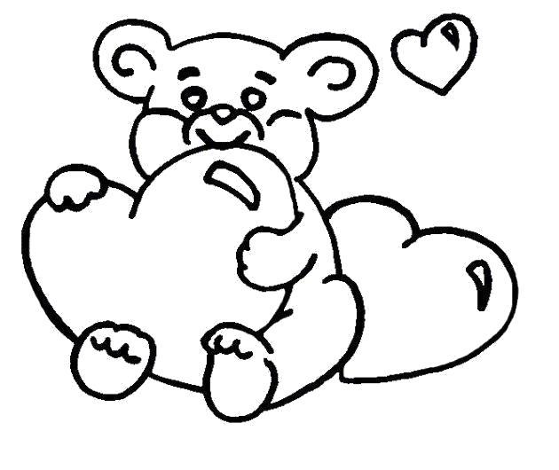 Раскраска  мишка с сердечками. Скачать .  Распечатать