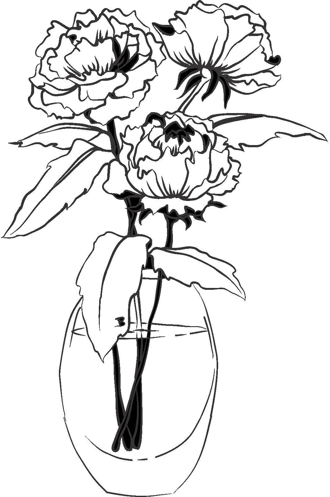 Раскраска Цветы в вазе. Скачать .  Распечатать